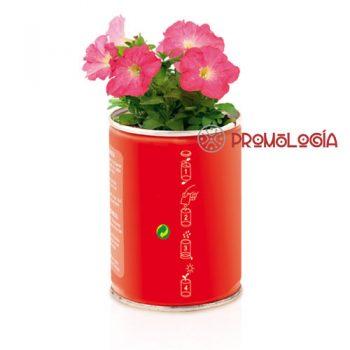 Lata con flores promocional